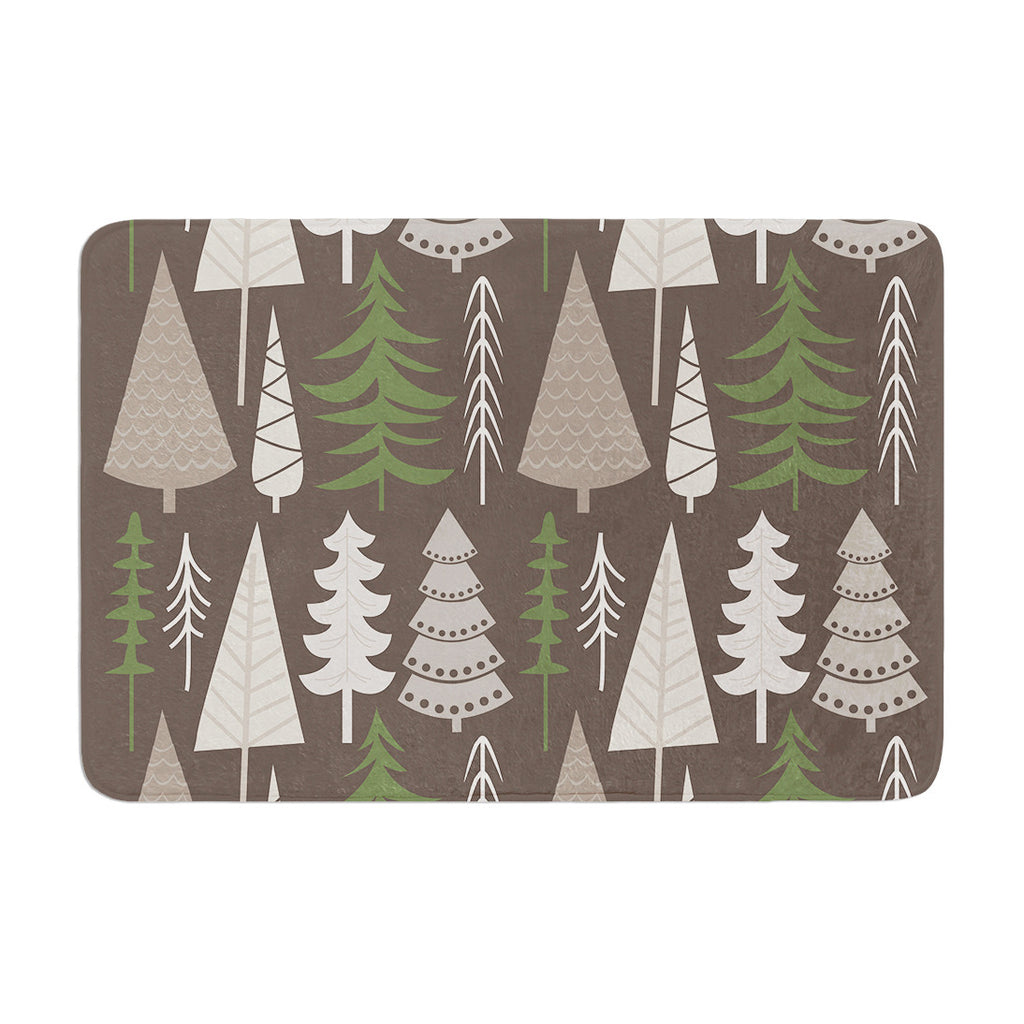 "KESS Original ""Happy Forest Brown"" Green Memory Foam Bath Mat - KESS InHouse"