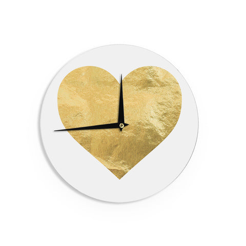 "KESS Original ""Heart of Gold"" Metallic Wall Clock - Outlet Item"