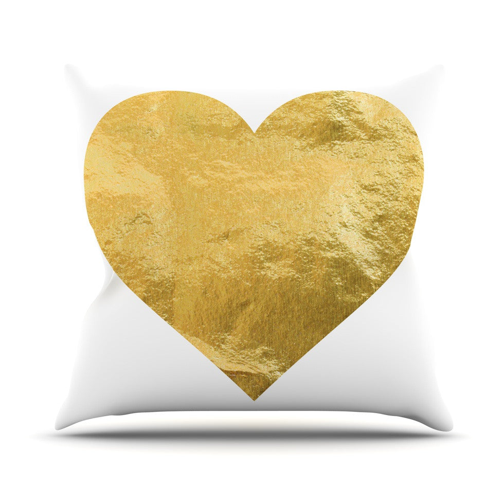 "KESS Original ""Heart of Gold"" Outdoor Throw Pillow - KESS InHouse  - 1"