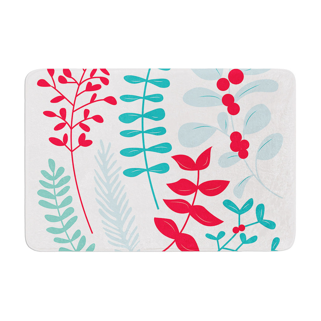 "KESS Original ""Deck the Hollies Red"" Teal Memory Foam Bath Mat - KESS InHouse"