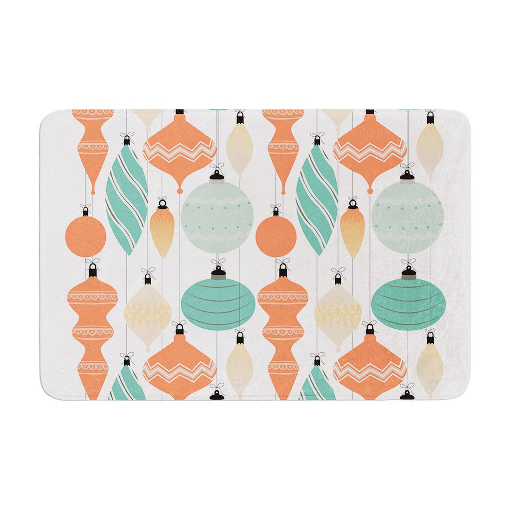"KESS Original ""Mixed Ornaments Orange"" Teal Memory Foam Bath Mat - KESS InHouse"