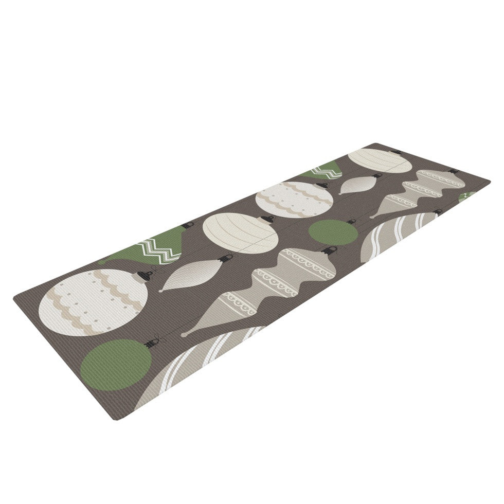 "KESS Original ""Mixed Ornaments Brown"" Green Yoga Mat - KESS InHouse  - 1"