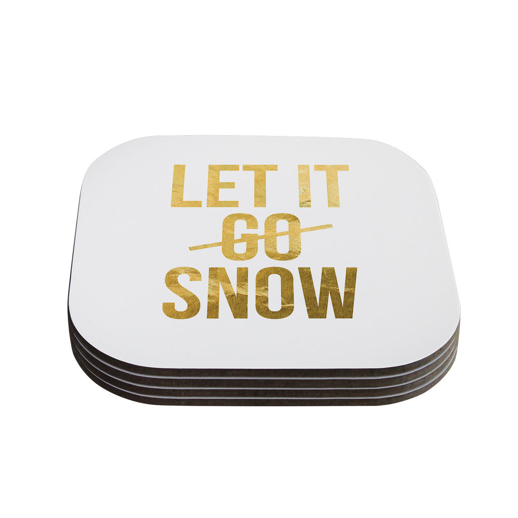 "KESS Original ""Let it Snow"" Typography Coasters (Set of 4)"