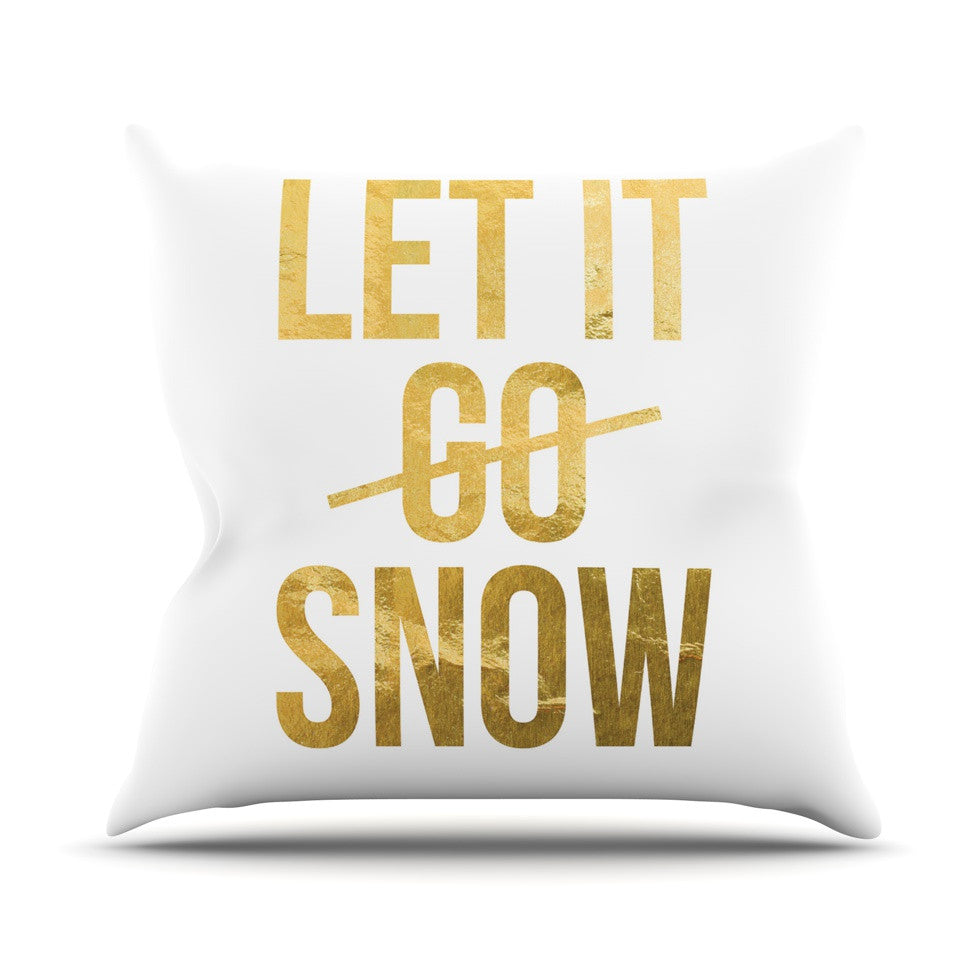 "KESS Original ""Let it Snow"" Typography Outdoor Throw Pillow - KESS InHouse  - 1"