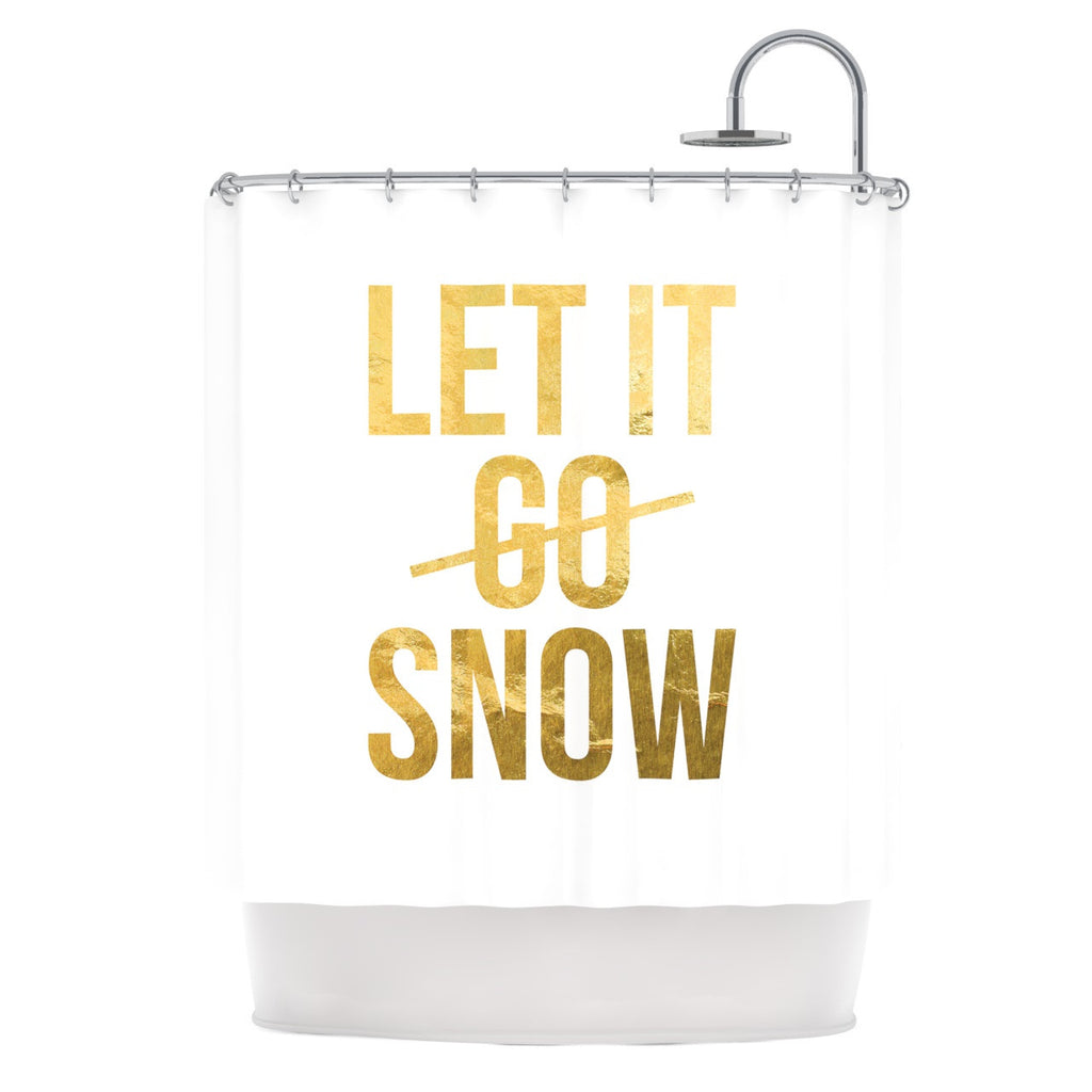 "KESS Original ""Let it Snow"" Typography Shower Curtain - KESS InHouse"