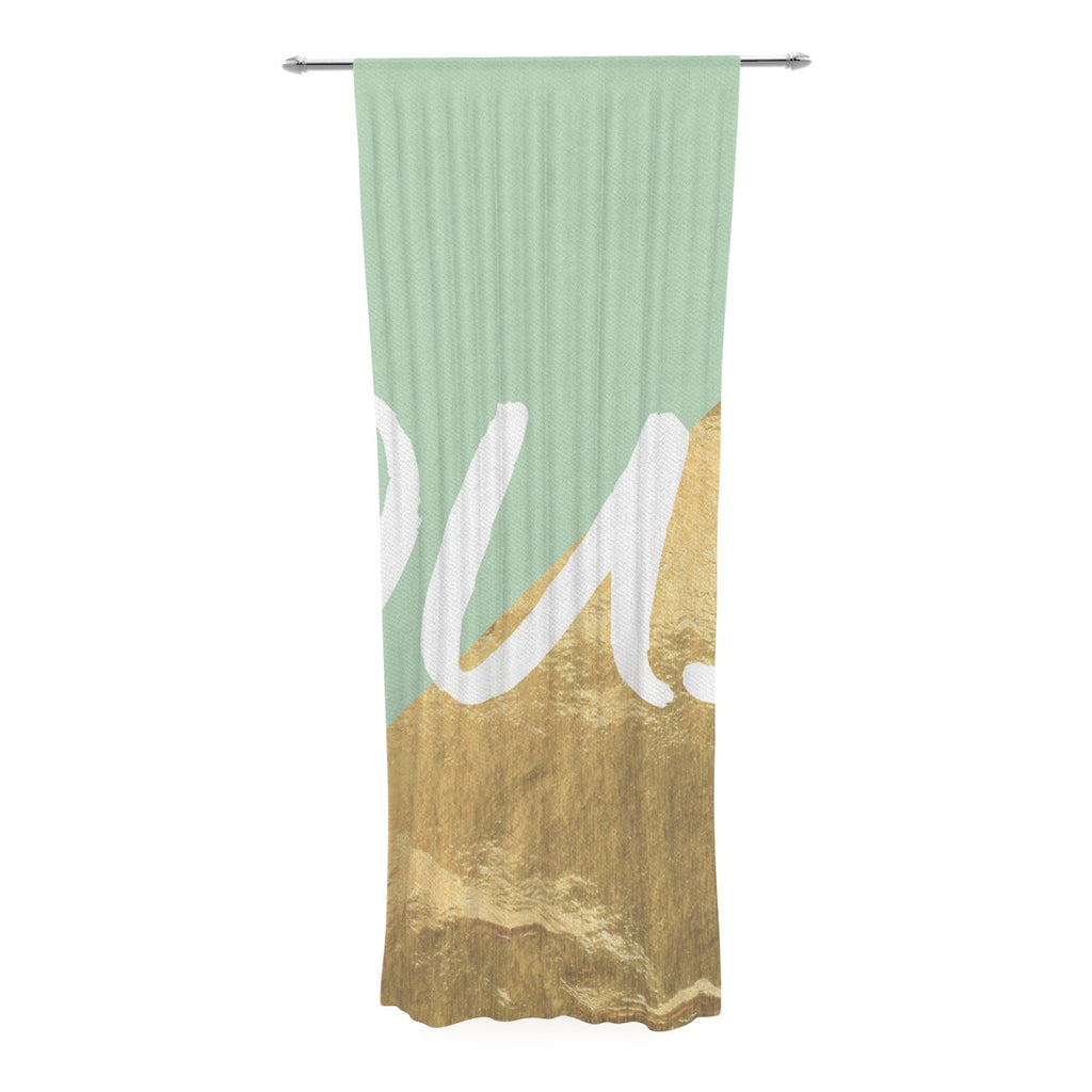 "KESS Original ""Oui Gold"" Decorative Sheer Curtain - KESS InHouse  - 1"