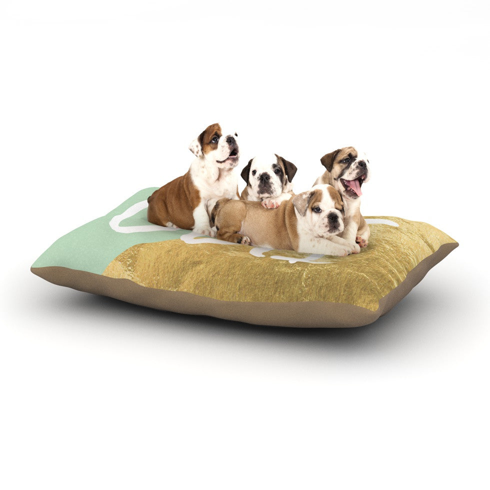"KESS Original ""Oui Gold"" Dog Bed - KESS InHouse  - 1"