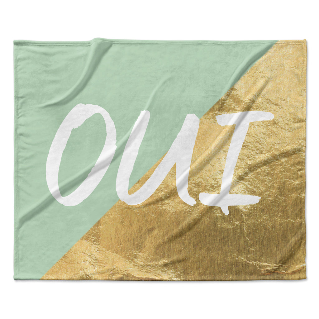 "KESS Original ""Oui Gold"" Fleece Throw Blanket"