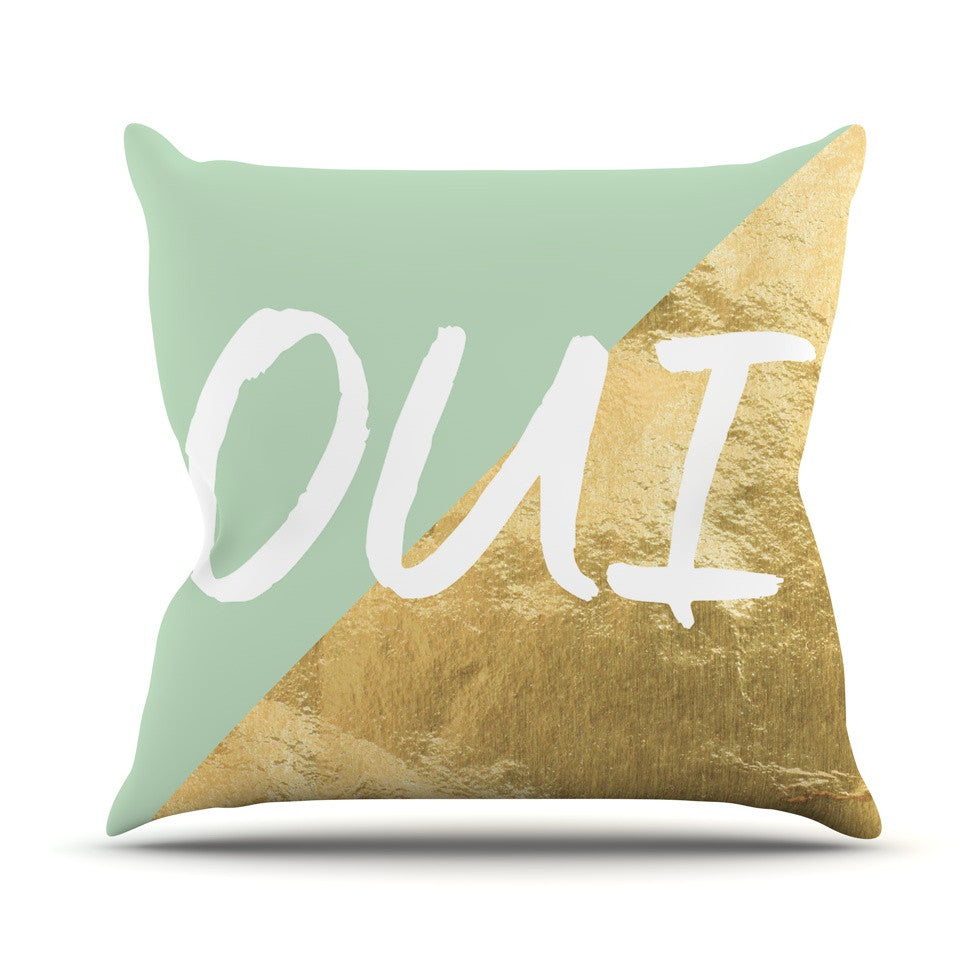 "KESS Original ""Oui Gold"" Throw Pillow - KESS InHouse  - 1"