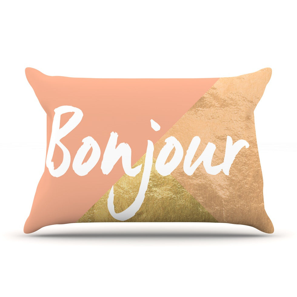 "KESS Original ""Bonjour Gold"" Pillow Sham - KESS InHouse"