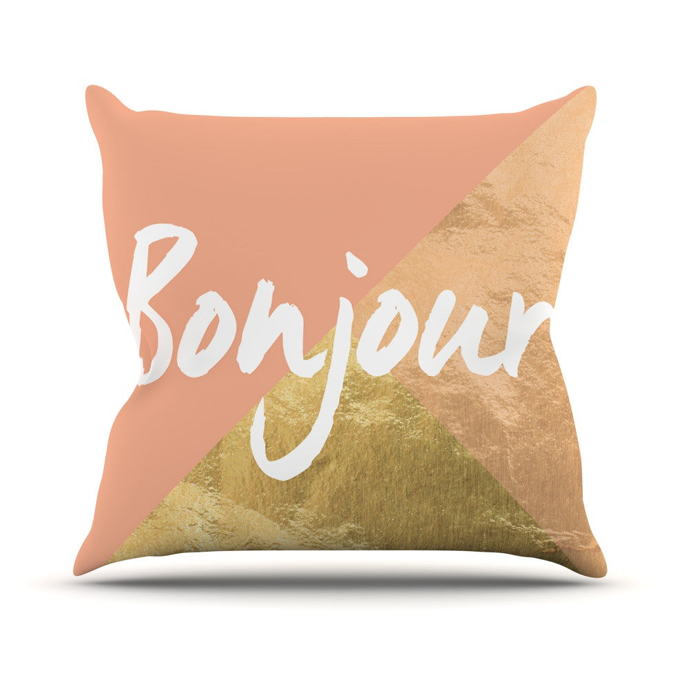 "KESS Original ""Bonjour Gold"" Outdoor Throw Pillow - KESS InHouse  - 1"