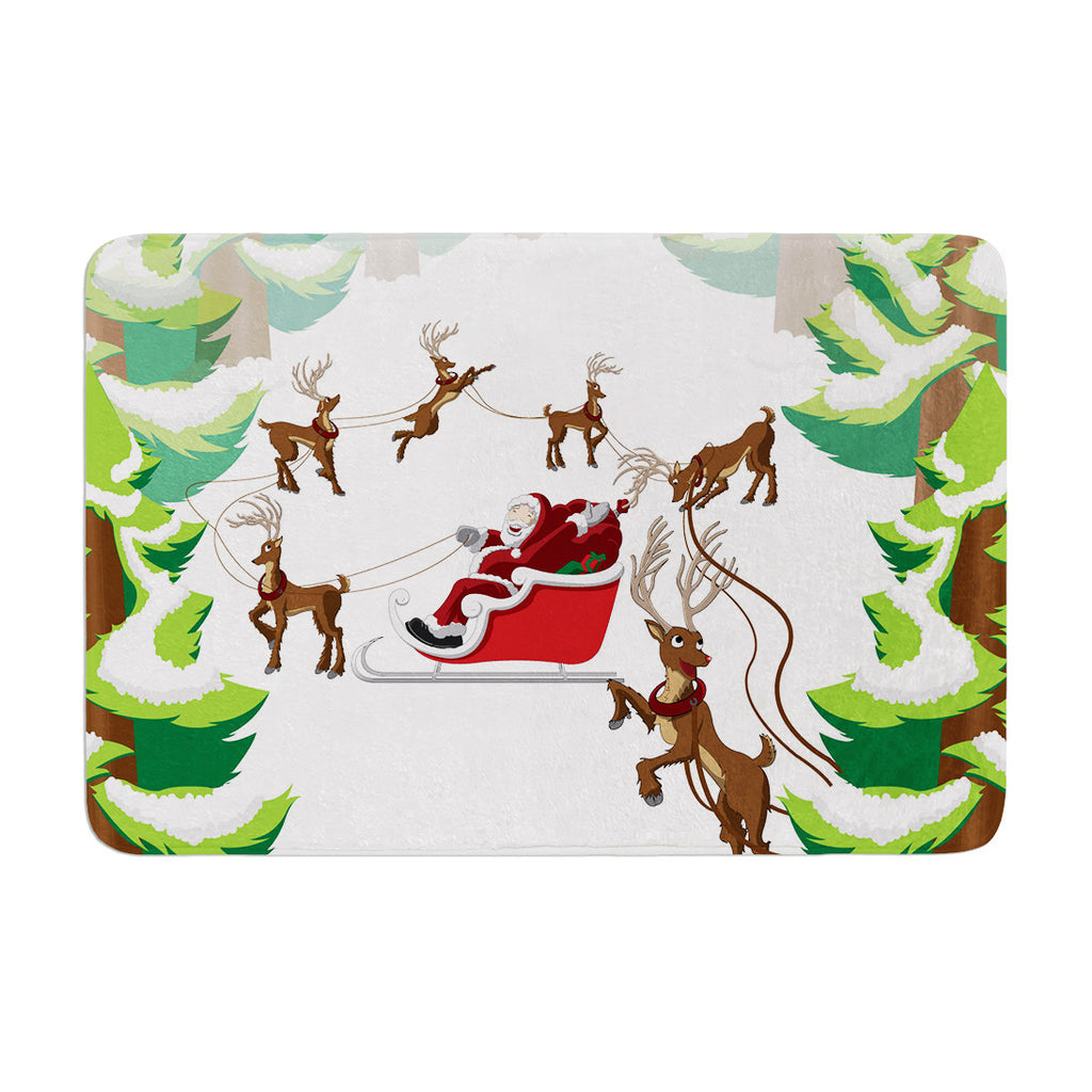 "KESS Original ""Forest Sleigh Scene"" Holiday Illustration Memory Foam Bath Mat - KESS InHouse"