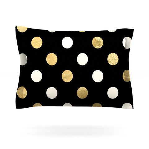 "KESS Original ""Golden Dots"" Black Gold Pillow Sham - Outlet Item"