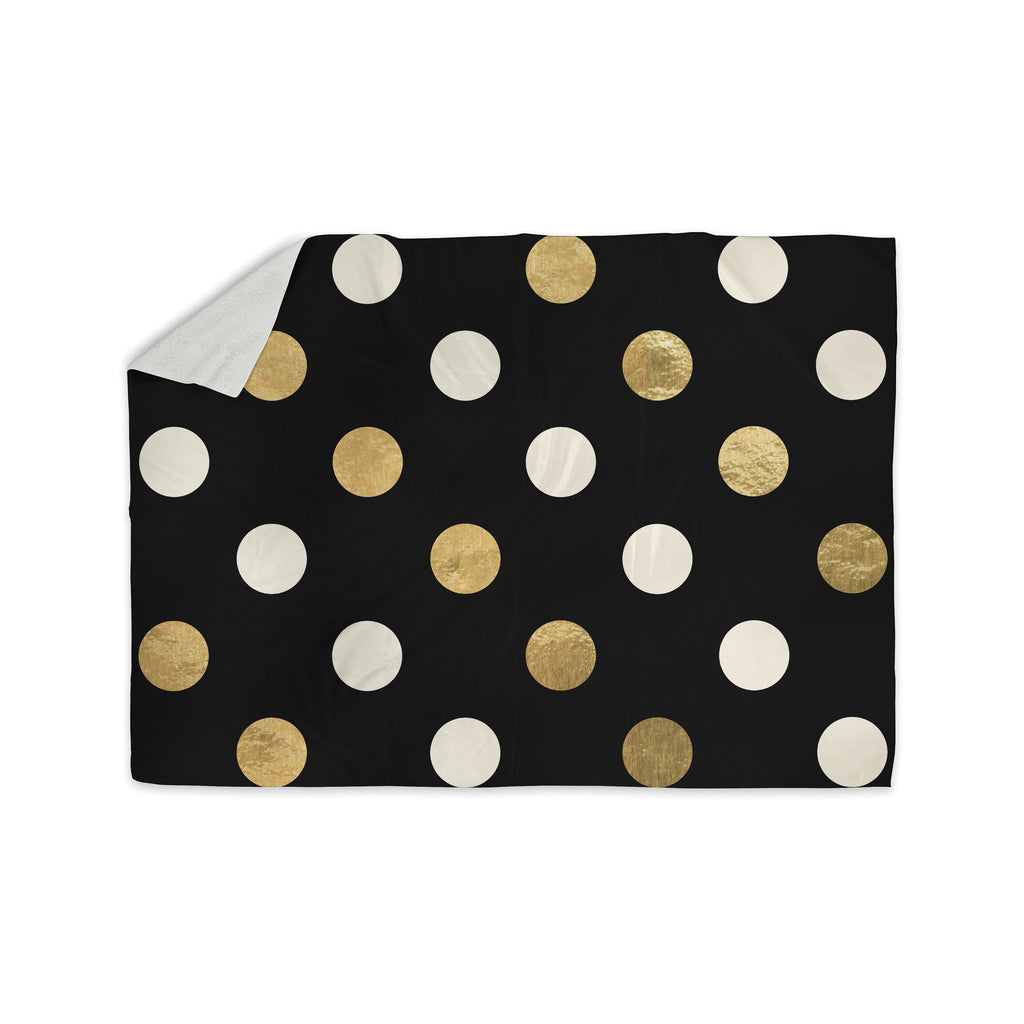 "KESS Original ""Golden Dots"" Black Gold Sherpa Blanket - KESS InHouse  - 1"