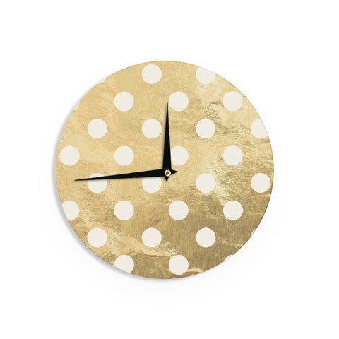 "KESS Original ""Scattered White"" Metallic Wall Clock - Outlet Item"