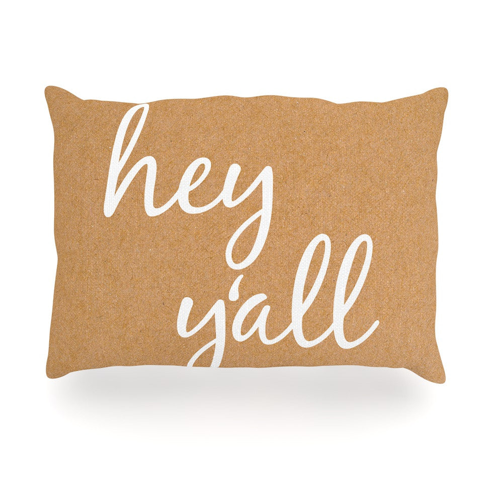 "KESS Original ""Hey Y'all - White"" White Brown Oblong Pillow - KESS InHouse"
