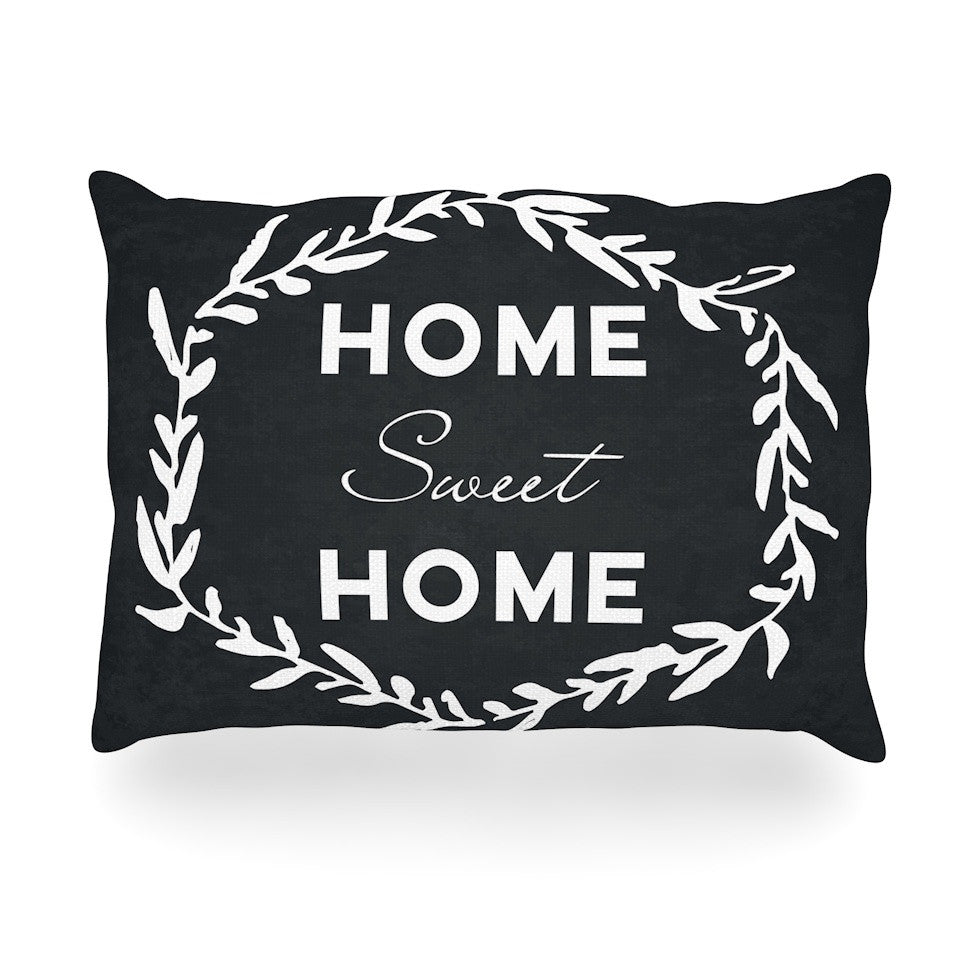 "KESS Original ""Home Sweet Home"" Black White Oblong Pillow - KESS InHouse"