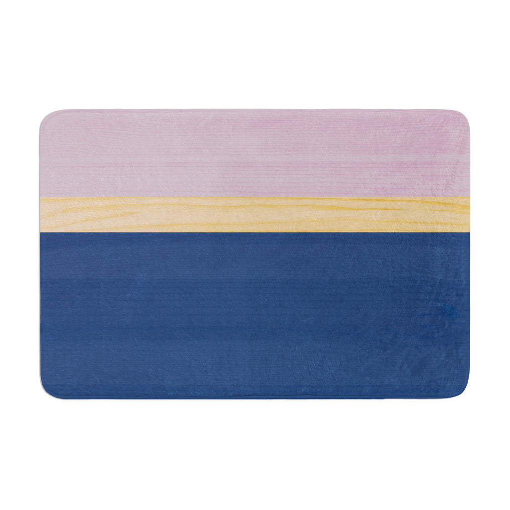 "KESS Original ""Spring Swatch - Blue Lavender"" Purple Wood Memory Foam Bath Mat - KESS InHouse"