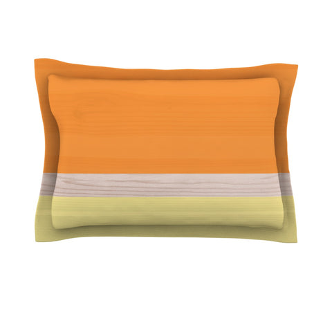 "KESS Original ""Spring Swatch - Tangerine Custard"" Orange Yellow Pillow Sham - Outlet Item"