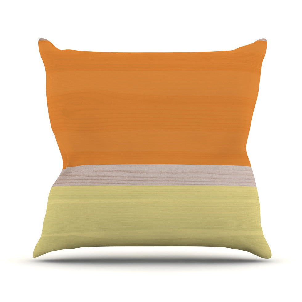 "KESS Original ""Spring Swatch - Tangerine Custard"" Orange Yellow Outdoor Throw Pillow - KESS InHouse  - 1"
