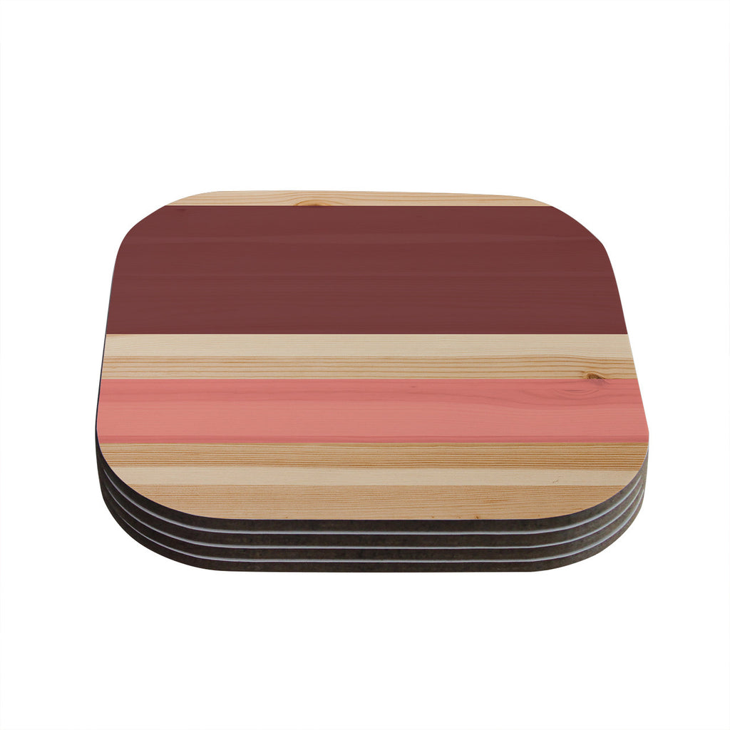 "KESS Original ""Spring Swatch - Marsala Strawberry"" Red Pink Coasters (Set of 4)"