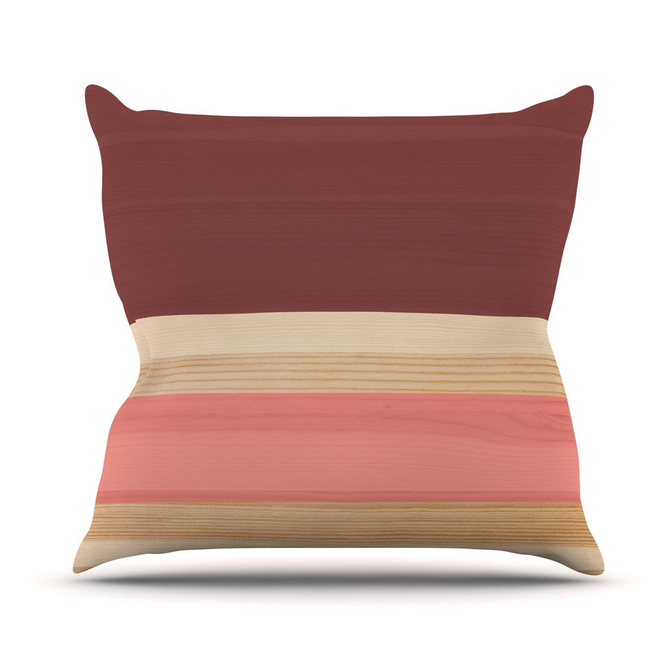 "KESS Original ""Spring Swatch - Marsala Strawberry"" Red Pink Outdoor Throw Pillow - KESS InHouse  - 1"