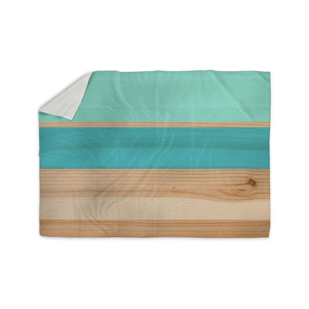 "KESS Original ""Spring Swatch - Blue Green"" Teal Wood Sherpa Blanket - KESS InHouse  - 1"