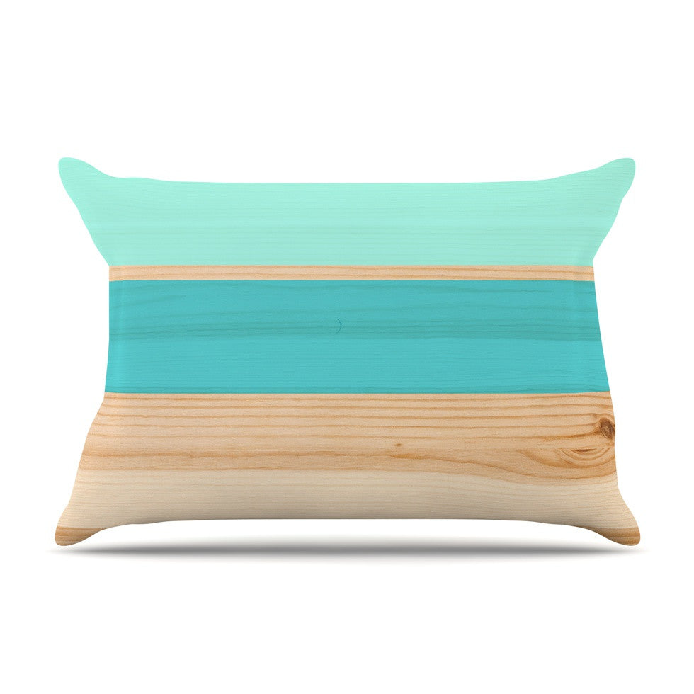 "KESS Original ""Spring Swatch - Blue Green"" Teal Wood Pillow Sham - KESS InHouse"