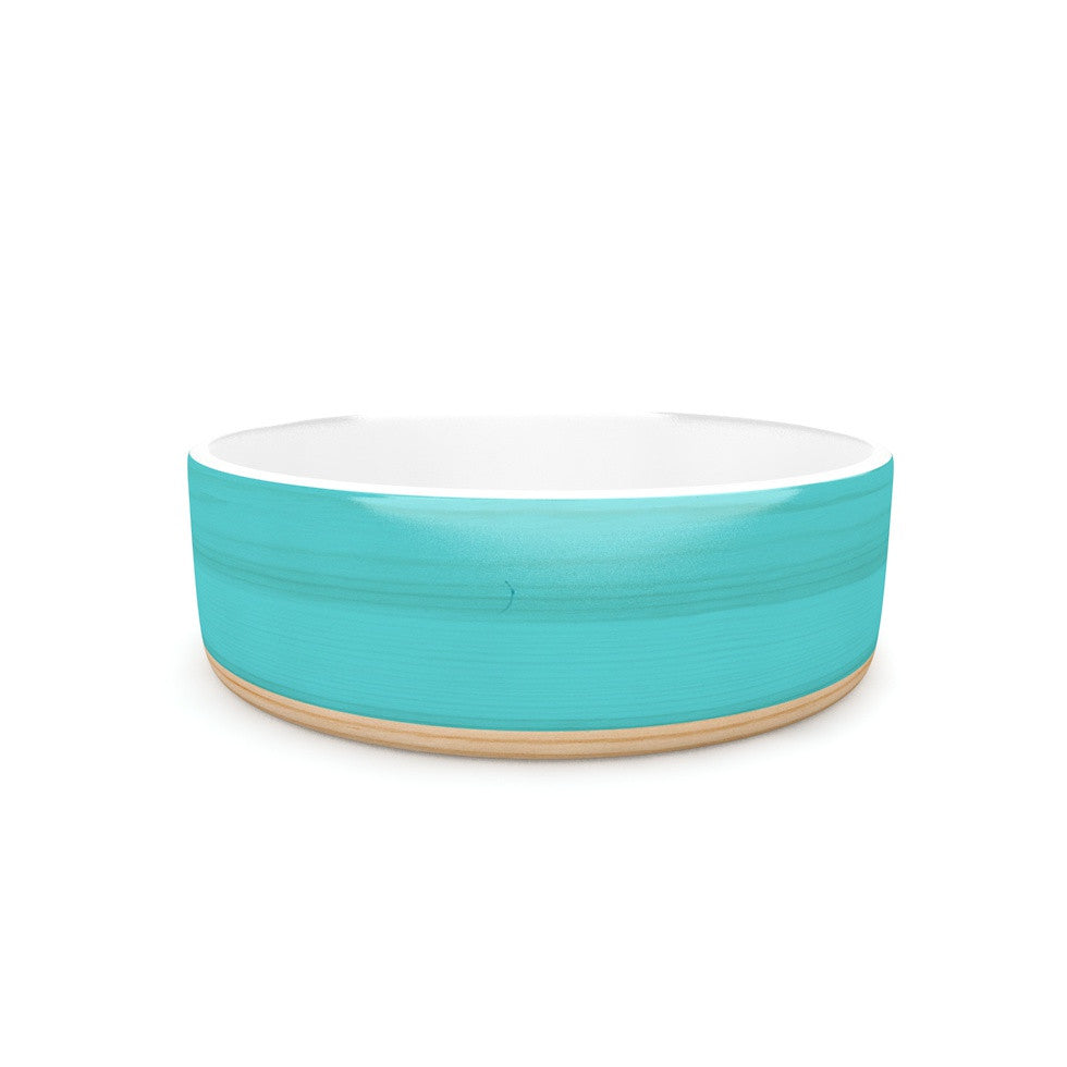 "KESS Original ""Spring Swatch - Blue Green"" Teal Wood Pet Bowl - KESS InHouse"