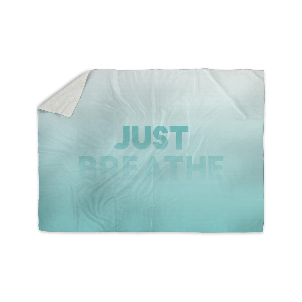 "KESS Original ""Just Breathe"" Blue Teal Sherpa Blanket - KESS InHouse  - 1"