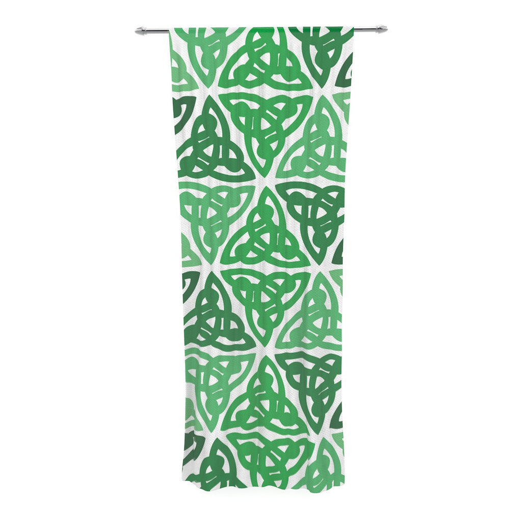 "KESS Original ""Celtic Knot Green"" Forest Mint Decorative Sheer Curtain - KESS InHouse  - 1"