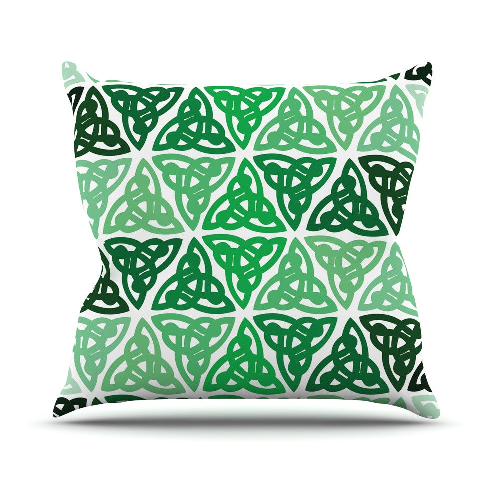 "KESS Original ""Celtic Knot Green"" Forest Mint Throw Pillow - KESS InHouse  - 1"