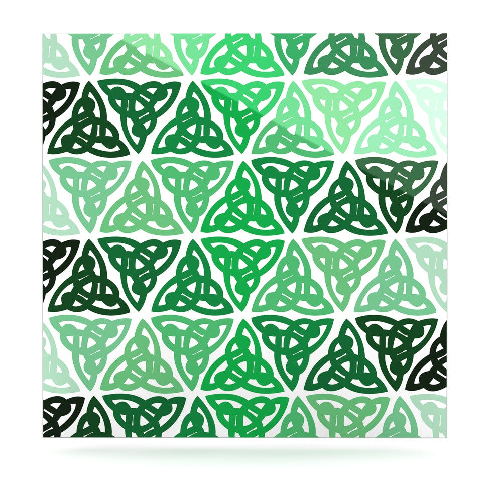 "KESS Original ""Celtic Knot Green"" Forest Mint Luxe Square Panel - KESS InHouse  - 1"