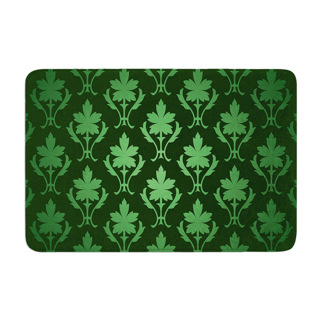 "KESS Original ""Emerald Damask"" Green Pattern Memory Foam Bath Mat - KESS InHouse"