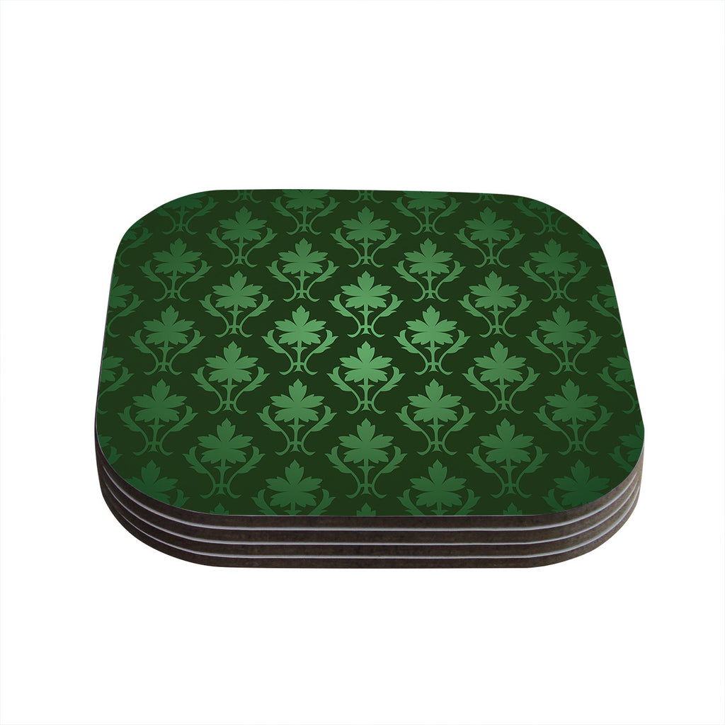 "KESS Original ""Emerald Damask"" Green Pattern Coasters (Set of 4)"