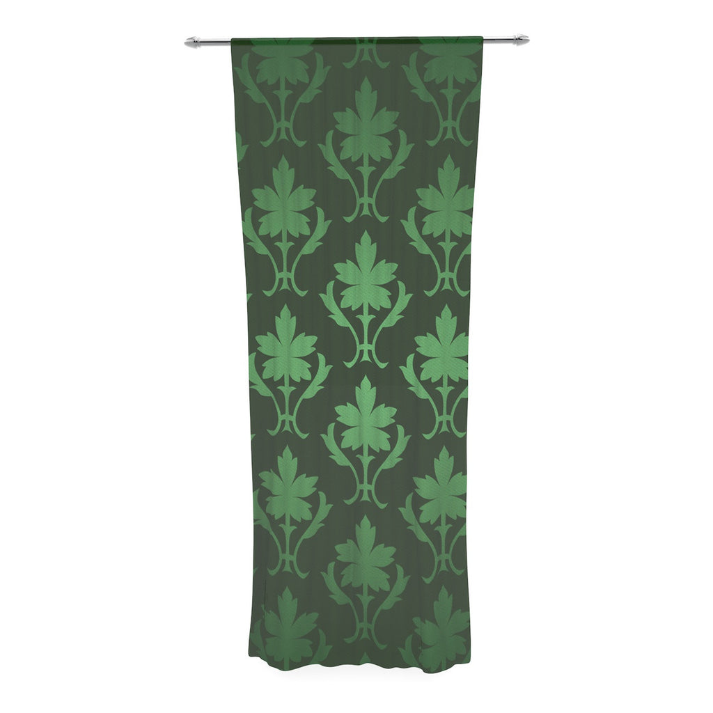 "KESS Original ""Emerald Damask"" Green Pattern Decorative Sheer Curtain - KESS InHouse  - 1"
