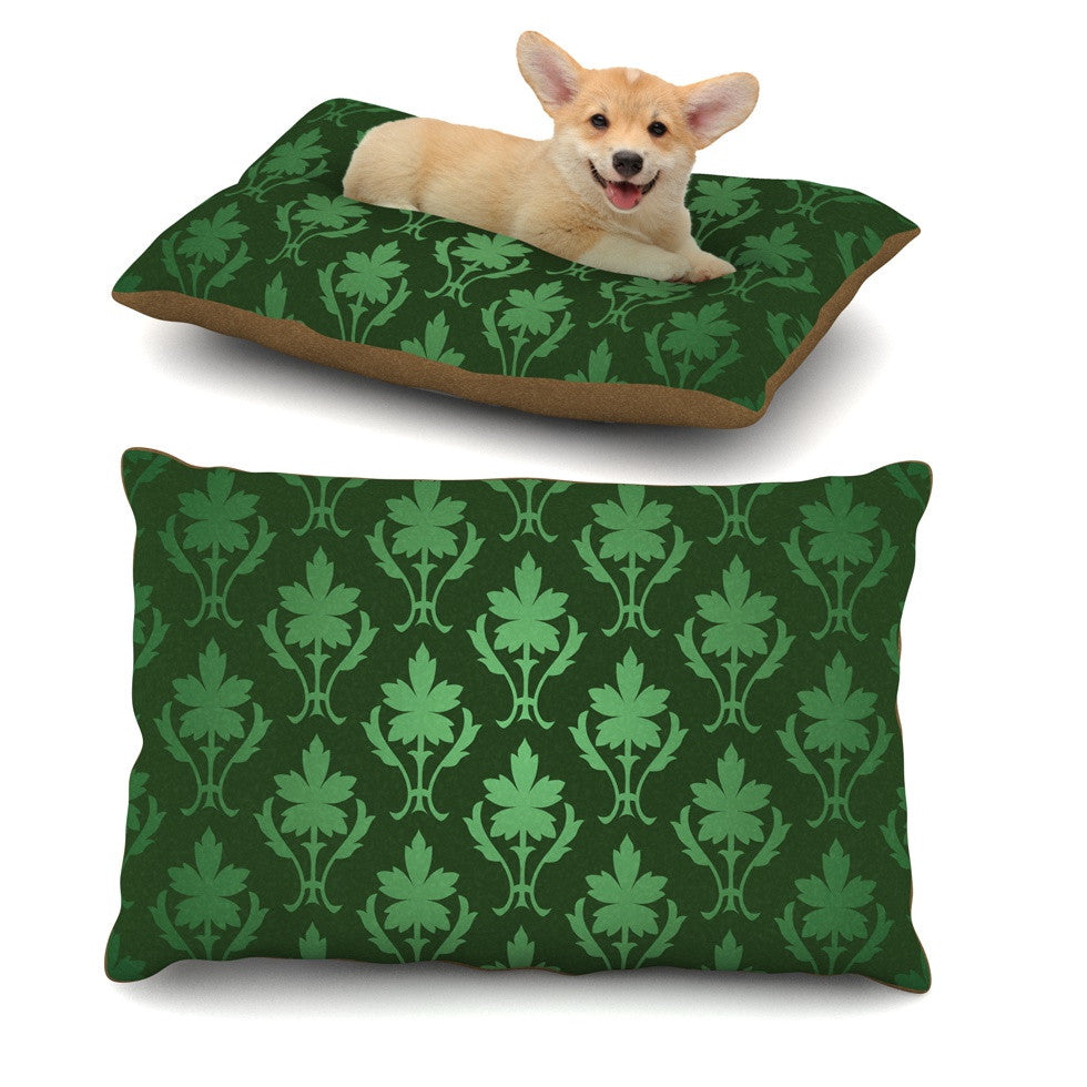 "KESS Original ""Emerald Damask"" Green Pattern Dog Bed - KESS InHouse  - 2"