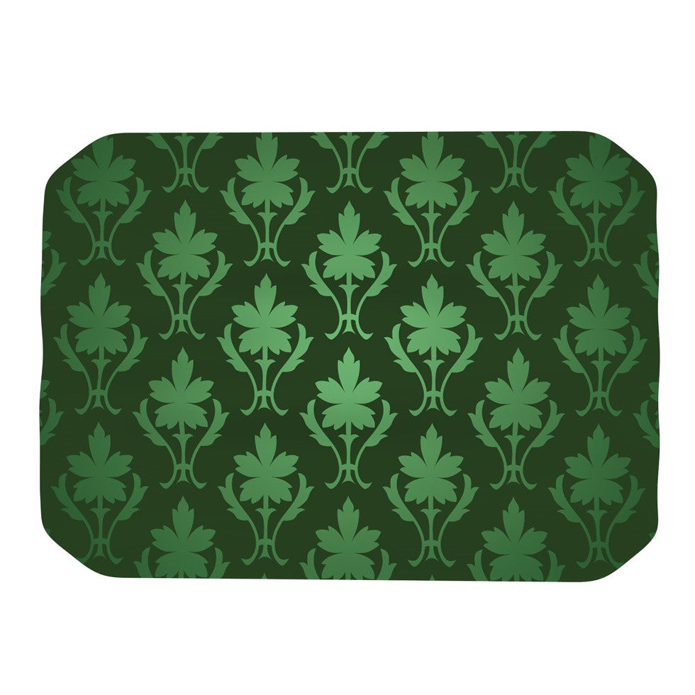 "KESS Original ""Emerald Damask"" Green Pattern Place Mat - KESS InHouse"