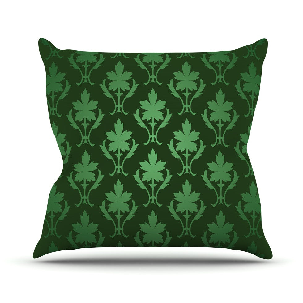 "KESS Original ""Emerald Damask"" Green Pattern Outdoor Throw Pillow - KESS InHouse  - 1"
