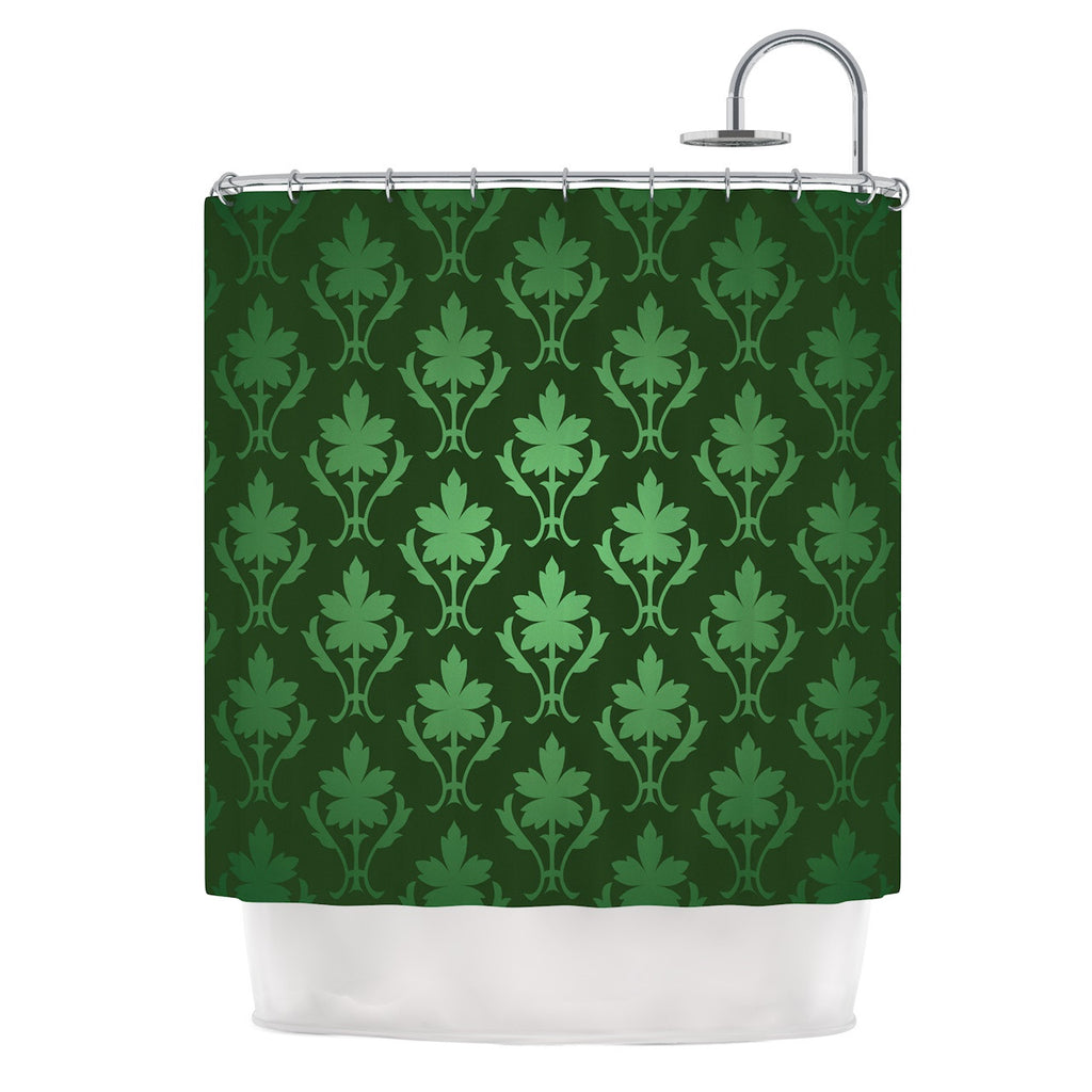 "KESS Original ""Emerald Damask"" Green Pattern Shower Curtain - KESS InHouse"
