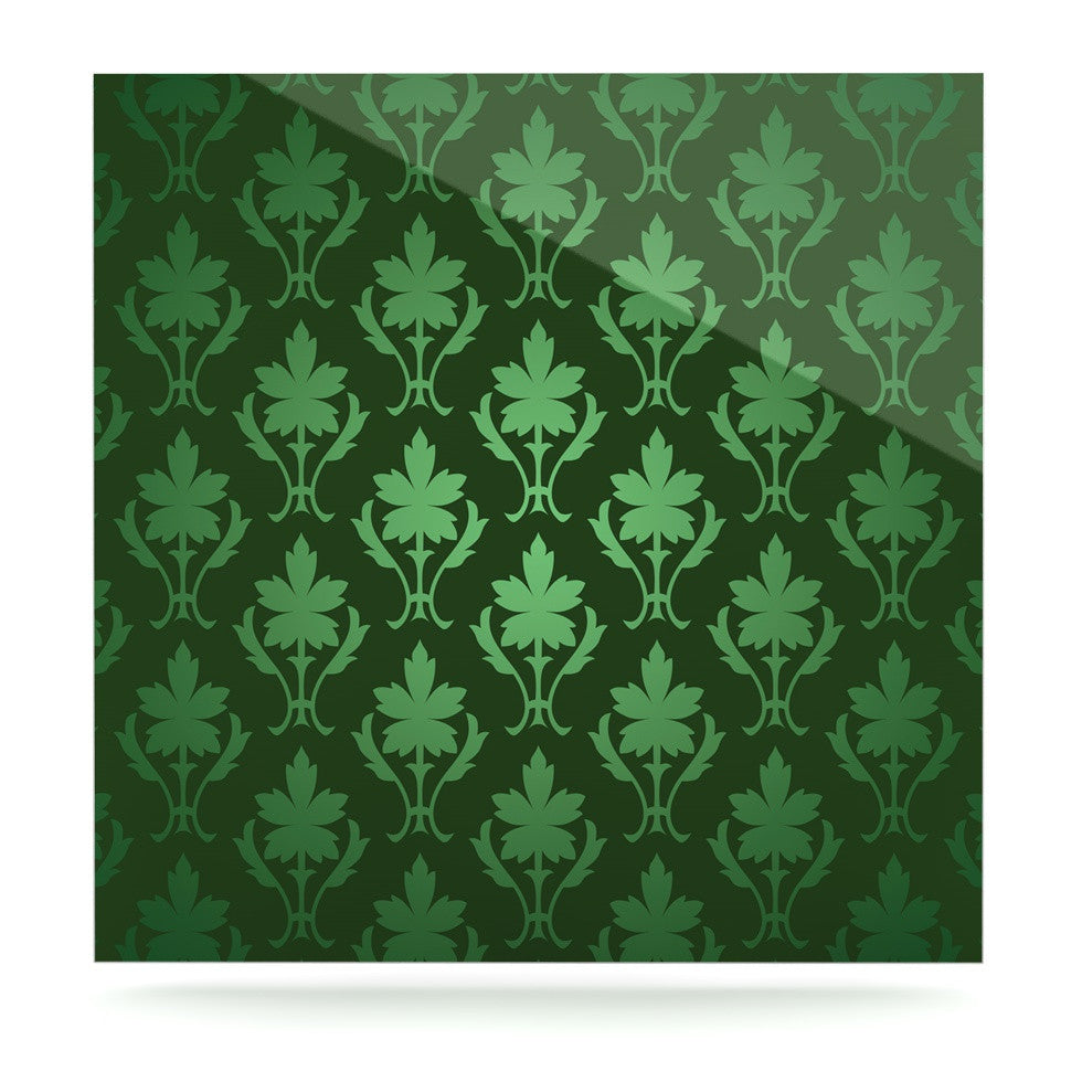 "KESS Original ""Emerald Damask"" Green Pattern Luxe Square Panel - KESS InHouse  - 1"