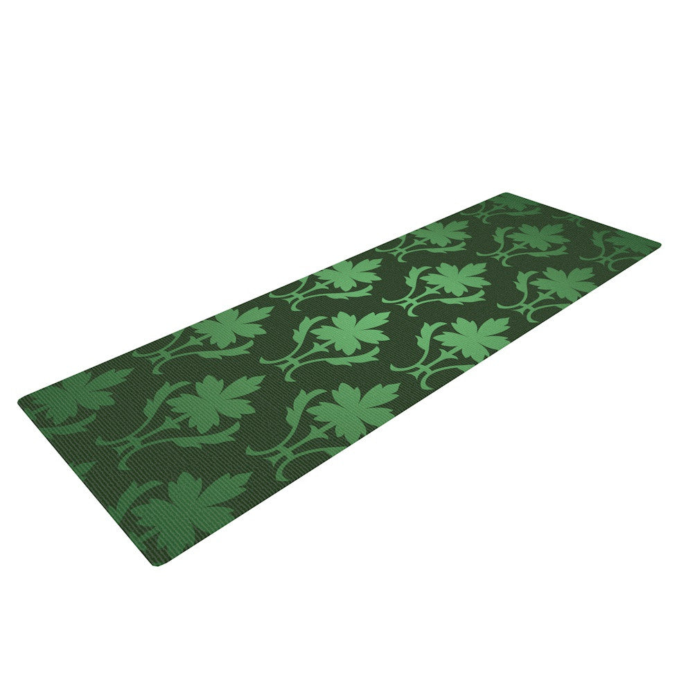"KESS Original ""Emerald Damask"" Green Pattern Yoga Mat - KESS InHouse  - 1"