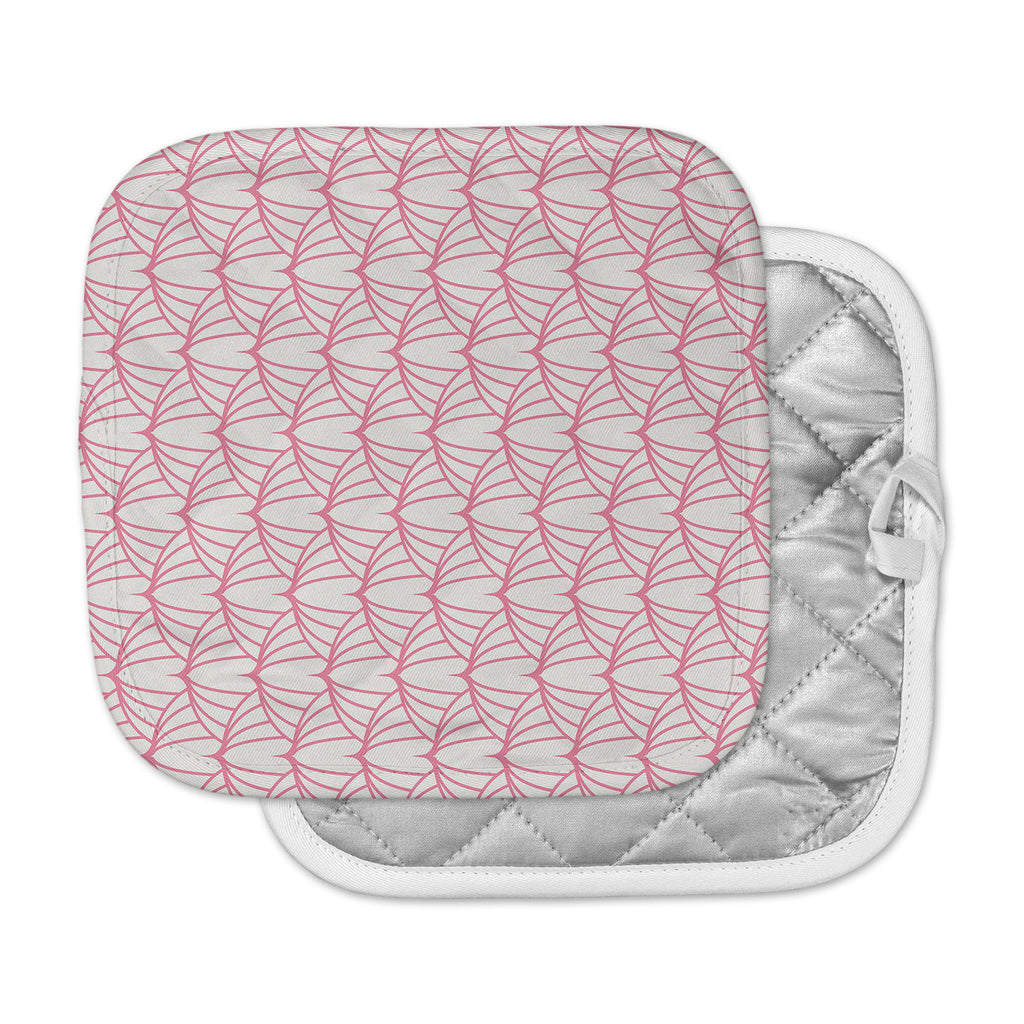 "KESS Original ""Stitches"" Pink White Pot Holder"