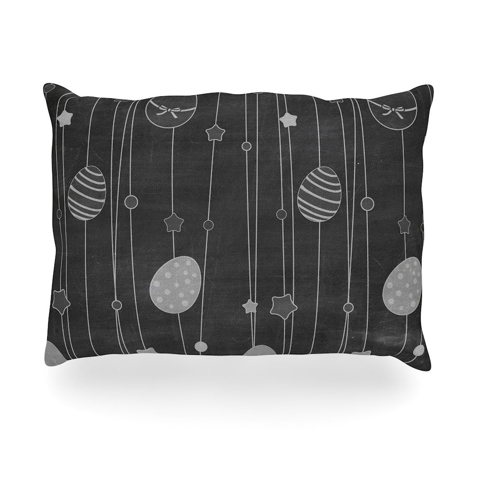"KESS Original ""Chalk Eggs Black"" Gray Eggs Oblong Pillow - KESS InHouse"