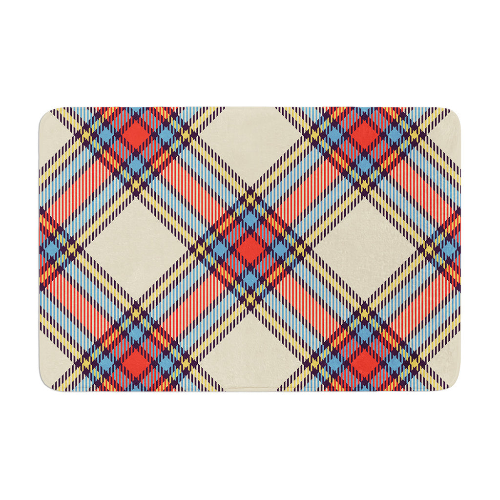 "KESS Original ""Sunday Brunch Plaid"" Tartan Memory Foam Bath Mat - KESS InHouse"