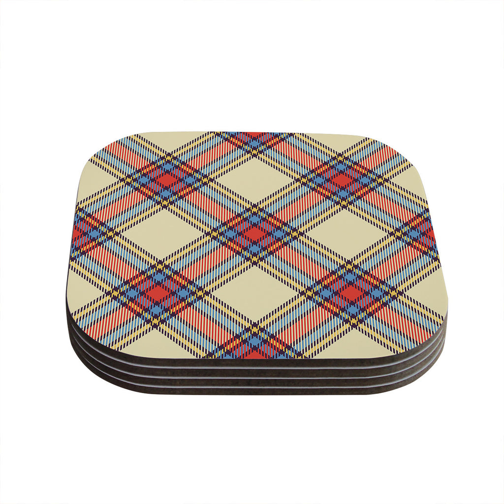 "KESS Original ""Sunday Brunch Plaid"" Tartan Coasters (Set of 4)"