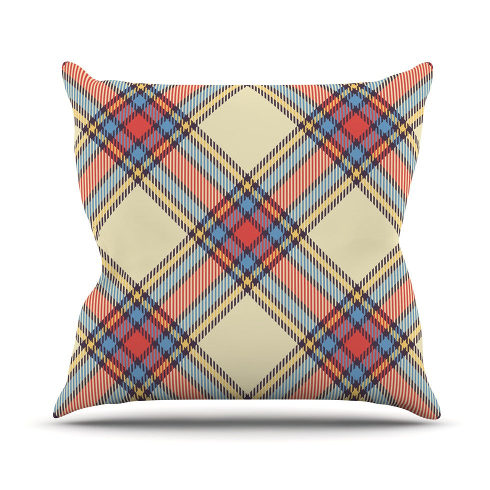 "KESS Original ""Sunday Brunch Plaid"" Tartan Outdoor Throw Pillow - KESS InHouse  - 1"