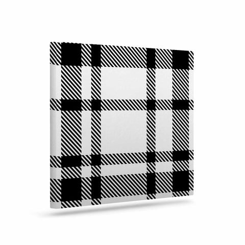 "KESS Original ""Night and Day"" White Black Plaid Pattern Art Canvas"