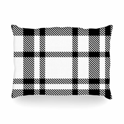 "KESS Original ""Night and Day"" White Black Plaid Pattern Oblong Pillow"