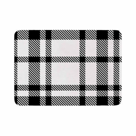 "KESS Original ""Night and Day"" White Black Plaid Pattern Memory Foam Bath Mat"